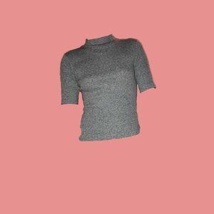 Gray Ribbed Quarter Sleeve Sweater